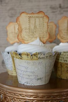 Vintage Map - Travel Themed Cupcake Wrappers
