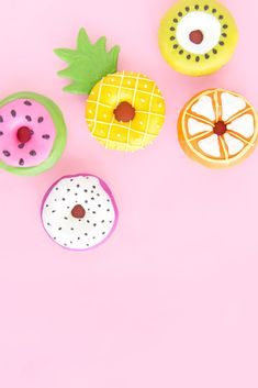 Summer Fruit Slice Donuts - All Of The Sweets - Summer Bridal Showers, Tropical Bridal Showers, Cute Donuts, Fruit Slice, Cupcakes, Flamingo Party, Cute Desserts, Summer Fruit, Summer Fall