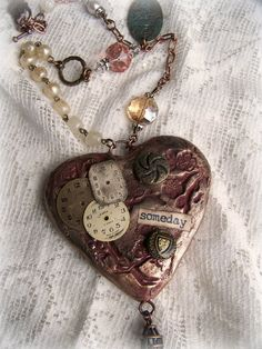 Handmade Mixed Media  Jewelry Altered Necklace Vintage by QueenBe, $54.50 (Etsy) love her pieces.