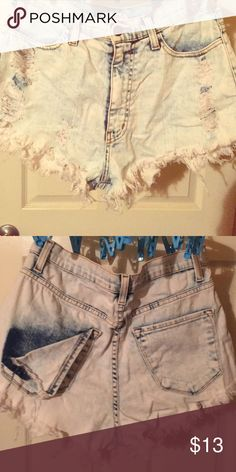 High waisted bleached denim distressed shorts Good condition. Only worn a few times. Size L. Shorts Jean Shorts