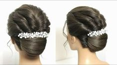 French Roll Bun Hairstyle With Twists. Updo For Long Medium Hair