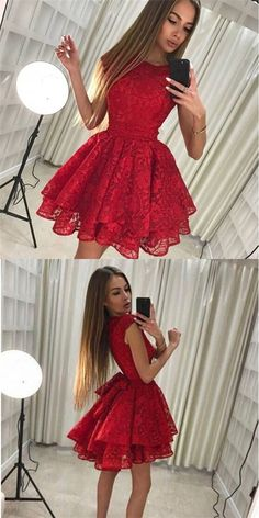 On Sale Engrossing Red Lace Homecoming Dress Round Neck Red Full Lace Cap Sleeves Homecoming Dresses 2 Piece Homecoming Dresses, Elegant Bridesmaid Dresses, Hoco Dresses, Dance Dresses, Pretty Dresses, Formal Dresses, Red Hoco Dress, Short Red Dresses, Beautiful Short Dresses