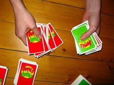 Apples to Apples played with shots of hard alcohol. Whoever wins the round (or whoever's card is chosen by the judge) gets two shots to hand out. They may pick whoever they like except the judge for that round, and themselves. Also with every 3rd green card a player receives they must do a shot.