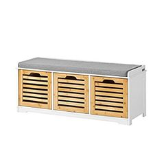 SoBuy FSR23-WN, Storage Bench with 3 Crates, Shoe Cabinet Shoe Bench with Soft Seat Cushion