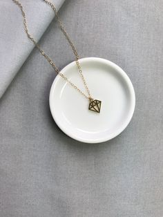 Gold Silver Diamond Shape pendant necklace / wedding bridesmaids necklace / gift for new mom / mother's day necklace by arassijewelry on Etsy Cute Necklace, Arrow Necklace, Pendant Necklace, Bridesmaid Necklace Gift, Gifts For New Moms, Silver Diamonds, Wedding Bridesmaids, Diamond Shapes, Sterling Silver Necklaces