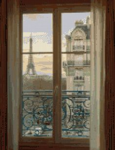 Paris Apartment Eiffel Tower Cross Stitch pattern PDF - EASY chart with one color per sheet AND traditional chart! Two charts in one! by HeritageChart on Etsy