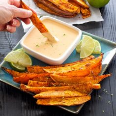 Chili Lime Sweet Potato Fries with Honey Chipotle Dipping Sauce