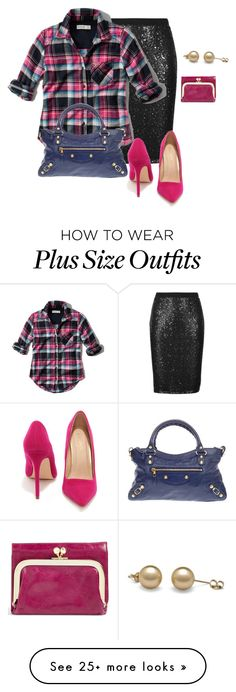 """""""plus size work or play/sparkle"""" by kristie-payne on Polyvore featuring M&S Collection, Abercrombie & Fitch, Balenciaga, Liliana and HOBO"""