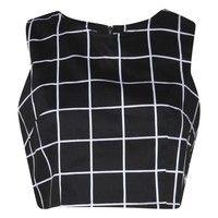 Millie Mono Grid Check Woven Crop Top