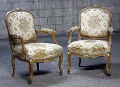 Pair OF French Louis Provincial Antique Solid Carved OAK ARM Chairs Fauteuils   eBay