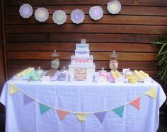 Dessert Bar - Ashlea's Christening. Theme by Shauna Mapanty who created pastel bunting which I incorporated into the dessert bar. The signage was created to compliment Shauna's theme.