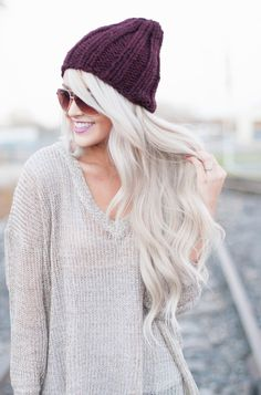 Beanie + sweater + gorgeous hair