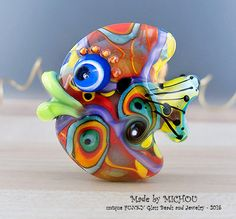 Funky Fish - Glass Art - Lampwork - 1 focal bead by Michou P. Anderson by michoudesign on Etsy