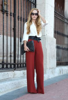 An attractive fall/winter work outfit! Love high waist slacks