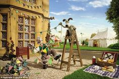 prince charles' favorite characters; wallace and gromit celebrate the jubilee...Tangled: The animated duo prepare for celebrations by putting up decorations
