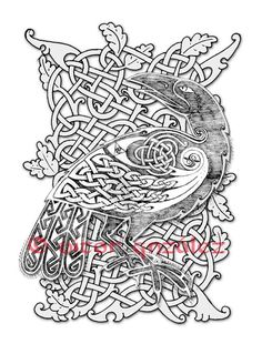 Second version of this motif for a comissioned tatto Celtic Raven II Celtic Raven, Viking Raven, Celtic Art, Celtic Sword Tattoo, Viking Tattoo Symbol, Celtic Patterns, Celtic Designs, Backpiece Tattoo, Nordic Tattoo