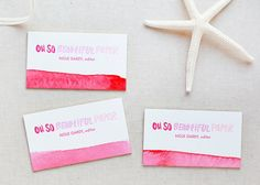Oh So Beautiful Paper: Watercolor + Gold Foil Edged Letterpress Business Cards