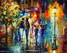 Sweet-Night — Spachtel Abbildung Ölgemälde auf Leinwand von Leonid Afremov…