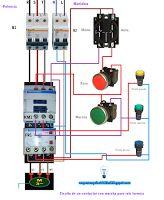 Esquemas eléctricos: Circuito de un contactor con marcha paro relé térm...