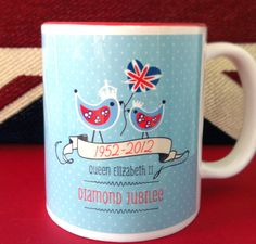 The Queen's Diamond Jubilee Mugs Limited Edition by rachelkdesign. £9.95 GBP, via Etsy.