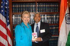 Vikas Swarup author of Slumdog Millionaire and Six Suspects meeting Hilary Clinton