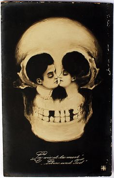 """Life is Death"" Antique Skull Optical Postcard #skull #art"