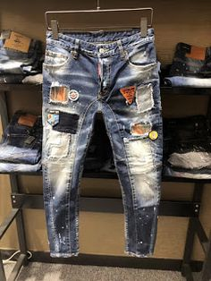 8f91dcf6 New Mens Jeans Skinny Biker Jeans patch Denim Pants Trousers Italy size