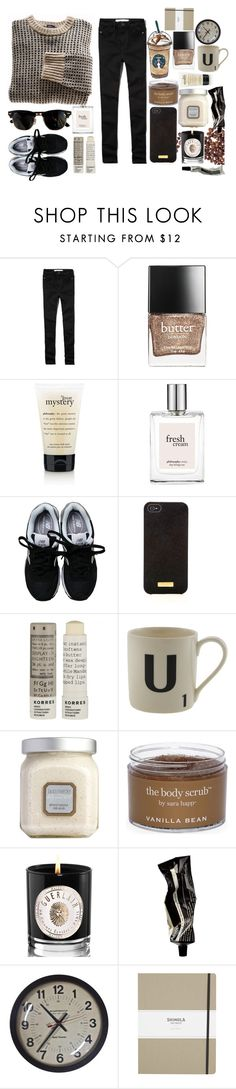 """""""Cold Coffee Mornings"""" by jupiter-geese ❤ liked on Polyvore featuring Abercrombie & Fitch, Butter London, philosophy, New Balance, Henri Bendel, Korres, Ray-Ban, Laura Mercier, Sara Happ and Guerlain"""