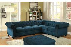 Kick up the style factor in your living space with the Furniture of America Starken I Upholstered Sectional Sofa . This sectional was inspired by Chesterfield. Tufted Sectional Sofa, Fabric Sectional, Chesterfield, Large Sectional, Corner Sectional, Leather Sectional, Couches, Living Room Sofa, Living Room Furniture