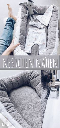 Sewing a nest - Free instructions for a baby Nestchen nähen – Kostenlose Anleitung für ein Babynest Sewing For Kids – Would you like to sew a nest to softly bed your baby? At Talu you will find instructions on how to sew a baby nest easily and easily. Quilt Baby, Love Sewing, Sewing For Kids, Sewing Hacks, Sewing Tutorials, Sewing Tips, Diy Bebe, Fabric Purses, Sewing Projects For Beginners
