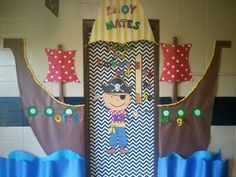 In the middle (on door), the pirate is a teacher (me). Change/add to match each season. Classroom Door, Kindergarten Classroom, Classroom Themes, Vbs Themes, School Decorations, School Themes, Pirate Door, Teach Like A Pirate, Sailing Theme