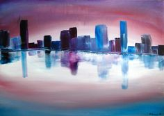 Abstract cityscapes are among my favourite subjects. This painting is roughly inspired by Brisbane skyline when the city is washed by violet-pinkish early morning light.    Materials: acrylic on canvas    Framing: the canvas sides are painted, so you can hang it as soon as you get it. No need for framing.    Dimensions: height - 50 cm, width - 70 cm, depth - 1.5 cm (19.7 x 27.5 x 0.6 in)    Signed by the artist on the front  Ready to ship  Ready to hang    Shipping: I will ship the item as…
