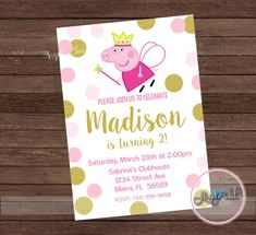 Peppa Pig Fairy Party Invitation, Peppa Pig Pink and Gold Birthday Invitation, Peppa Pig Fairy Invitation, Peppa Pig Princess, Digital File