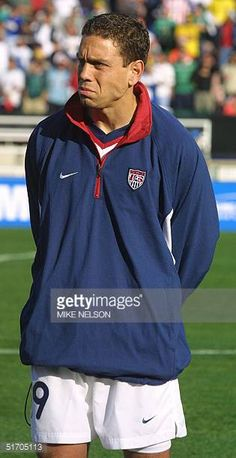 United States National Soccer Team player Brian West poses at the Gold Cup tournament in Pasadena California 19 January 2002 AFP PHOTO/Mike NELSON