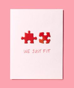DIY Valentines Day : Puzzle Pieces as card. Use puzzle pieces that actually fit together. from Rea Valentine Love, Homemade Valentines, Valentine Day Crafts, Diy Valentines Cards, Homemade Birthday, Printable Valentine, Valentine Wreath, Valentine Ideas, Diy Birthday
