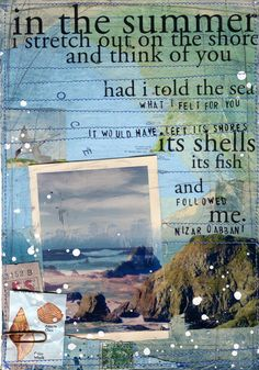 "Day 26 - 11""x14"" paper print - Nizzar Qabbani quote nautical beach mixed media art"