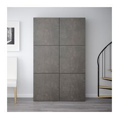 BESTÅ Storage combination with doors - black-brown Kallviken/dark gray concrete effect - IKEA