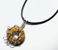 Wire Wrap Jasper Donut Pendant with Adjustable by Nixcreations, $25.00