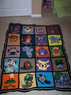 Crochet Pokemon Afghan This is absolutely gorgeous, I love this so much. I wish I knew someone who could make this!