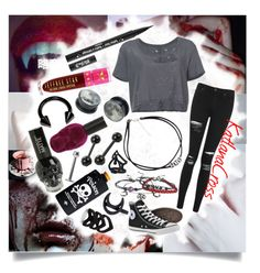 """""""""""I'll capture you and I'll take you to my dungeon. Your smile says you love it, you fell for my seduction"""""""" by katlanacross ❤ liked on Polyvore featuring Deborah Lippmann, Topshop, Unravel, Converse, Hot Topic, Kat Von D, Jeffree Star and The Rogue + The Wolf"""