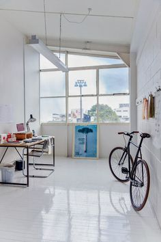 High gloss white floor- studio Coffee Supreme by Sammy-rose Scapens and Heather Liddell