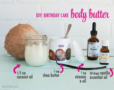"""The Chic Site remember it is """"vanilla essential oil"""" NOT vanilla extract. Homemade Body Butter, Whipped Body Butter, Shea Butter, Vanilla Essential Oil, Essential Oil Perfume, Essential Oils, Make Birthday Cake, Diy Cake, Homemade Beauty Products"""