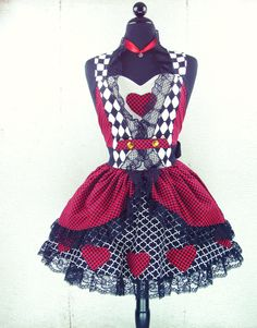 Pin Up Queen of Hearts Double Skirt Sweetheart Neckline Full Apron // Costume with Lace. $95.95, via Etsy.