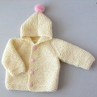 Girl Knit Hooded Jacket / Toddler Cream Cardigan / Buttoned Sweater / One Year Old Birthday Outfit / Pom Pom Wool Hoodie / Kids Winter Coat Crochet Baby Sweaters, Knit Or Crochet, Crochet For Kids, Baby Sweater Patterns, Baby Knitting Patterns, Baby Patterns, Baby Cardigan, Cream Cardigan, Knitting For Kids