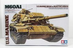 This U.S. Marine M60A1 w/Reactive Armor model kit is made by Tamiya in 1/35 scale. - Realistic reactive armor plates - Movable driver's hatch - With Commander a