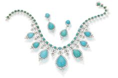 A turquoise and diamond necklace and earclips,