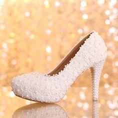 chaussures femme pas cher escarpin mariage discount au talon aiguille chaussure de marie en dentelle blanche - Chaussure Mariage Compense