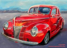 """Old Fat 40  1940 Ford Deluxe car oil 6 x 8"""", painting by artist Diane Morgan"""