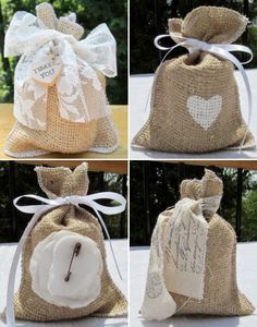 Burlap Wedding decorations are easy and affordable, use burlap bags for your wedding favors and you will have a unique favor idea. For some rustic renaissance , burlap favor bags are perfect for barn weddings, vineyard wedding and outdoor weddings. Creative Wedding Favors, Wedding Favor Bags, Unique Wedding Favors, Unique Weddings, Diy Wedding, Lace Wedding, Garden Wedding, Wedding Decoration, Wedding Cakes