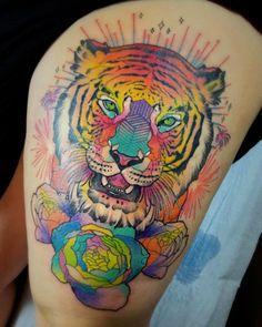 2017 trend Animal Tattoo Designs - Colorful tiger tattoo by Katie Shocrylas...